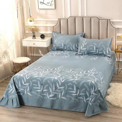 2020新款-全棉活性磨毛多规格单床单 冬季保暖加厚纯棉磨毛印花全棉磨毛床单单品床单被单 200X230直角床单 羽毛情深