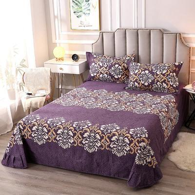 2020新款-全棉活性磨毛多规格单床单 冬季保暖加厚纯棉磨毛印花全棉磨毛床单单品床单被单 200X230直角床单 云享花束