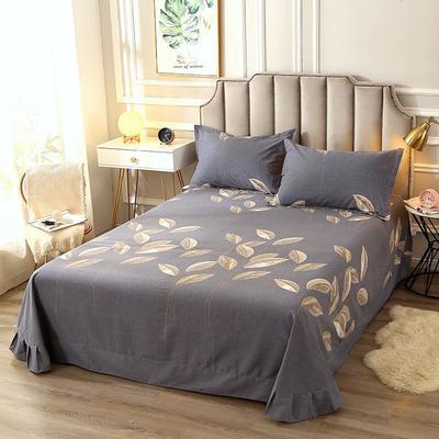 2020新款-全棉活性磨毛多规格单床单 冬季保暖加厚纯棉磨毛印花全棉磨毛床单单品床单被单 200X230直角床单 自由风-灰