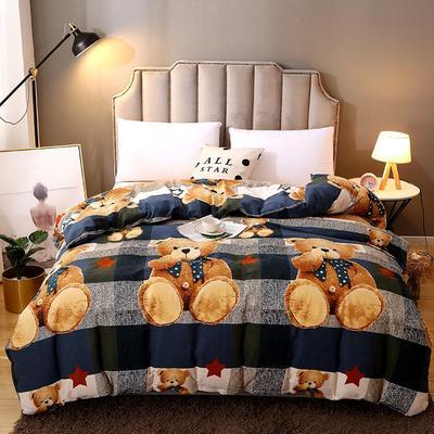 2020新款-全棉活性磨毛多规格单被套 冬季保暖加厚纯棉磨毛印花全棉磨毛被套单品被套被罩 180x220cm 可爱熊
