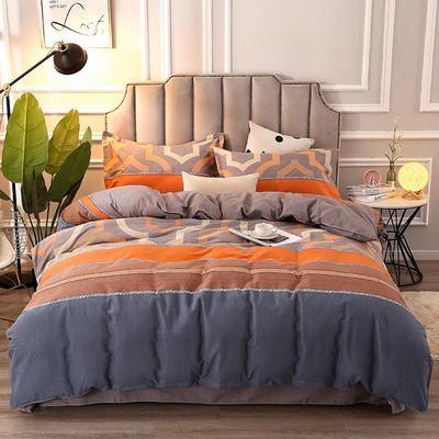 2020新款-纯棉加厚全棉磨毛四件套 保暖多规格床单款床笠款式全棉活性磨毛四件套 160*210被套160*240床单三件套 利兹