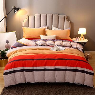 2020新款-纯棉加厚全棉磨毛四件套 保暖多规格床单款床笠款式全棉活性磨毛四件套 160*210被套160*240床单三件套 小时代