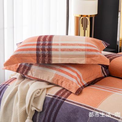 2020新款-百分百全棉生态磨毛多规格单枕套 冬季保暖加厚纯棉磨毛枕套单品 48X74cm枕套/对 都市生活-咖