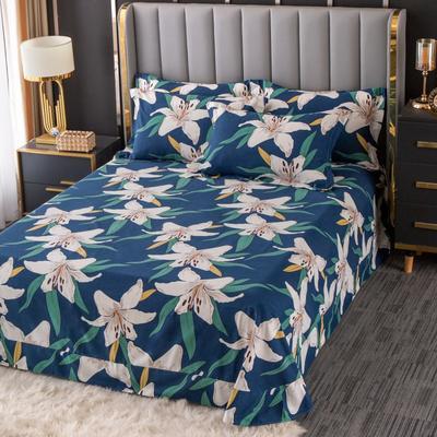2020新款-百分百全棉生态磨毛多规格单床单 冬季保暖加厚纯棉磨毛床单床罩单品 180X230直角床单 花魅-蓝