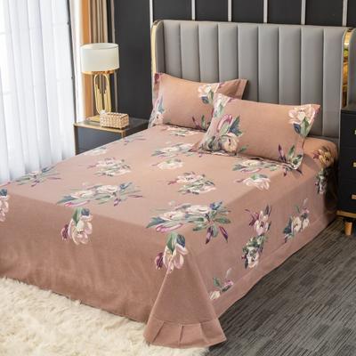 2020新款-百分百全棉生态磨毛多规格单床单 冬季保暖加厚纯棉磨毛床单床罩单品 180X230直角床单 浣溪沙-豆沙