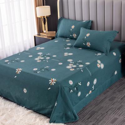 2020新款-百分百全棉生态磨毛多规格单床单 冬季保暖加厚纯棉磨毛床单床罩单品 180X230直角床单 浅浅苏更-绿