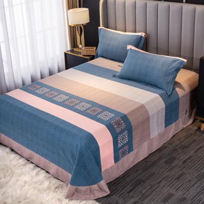2020新款-百分百全棉生态磨毛多规格单床单 冬季保暖加厚纯棉磨毛床单床罩单品 180X230直角床单 温情时光-蓝
