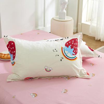 2021新款-田园风全棉12868多规格单枕套 单品纯棉枕套全棉枕套斜纹活性印花 48*74cm/对 彩虹草莓米