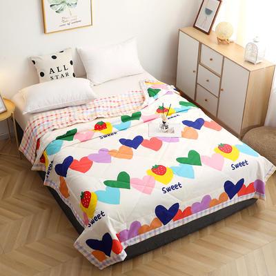 2021全棉夏被 纯棉单夏被印花单品夏被四件套三件套12868印花系列床单床笠 2.0米+2只枕套三件套 爱心草莓