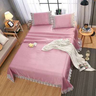 2021新款加厚款纯色蕾丝床单款冰丝席三件套 245*250cm三件套 红豆沙