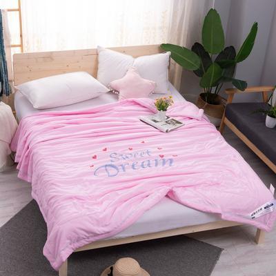 2021新款水洗棉刺绣单夏被 200X230cm 粉色