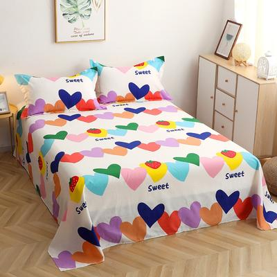 2021新款12868全棉印花床单 斜纹纯棉单床单单品品床单A版活性印花 160X230cm 爱心草莓