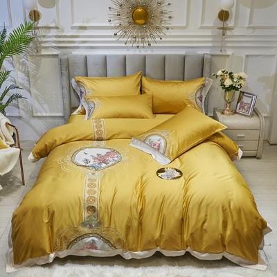 2021新款高端款80S长绒棉绣花四件套 1.8m床单款四件套 东方神韵-日光黄