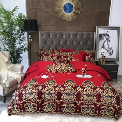 2021新款欧式100s长绒棉刺绣系列四件套 1.8m床单款四件套 巴洛克斯红