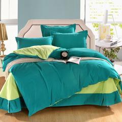 靓草-绿 简约纯色双拼素色纯棉被套床单全棉生态磨毛床品四件套秋冬 1.8m(6英尺)床 靓草-绿