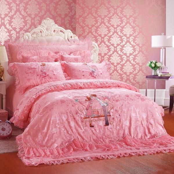 嫁给我吧-粉红 粉色蕾丝婚庆绣花贡缎提花四件套多件套 1.图片