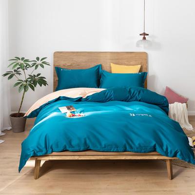 2020新款韩版长绒棉四件套-实拍图 1.5m床单款 高贵蓝