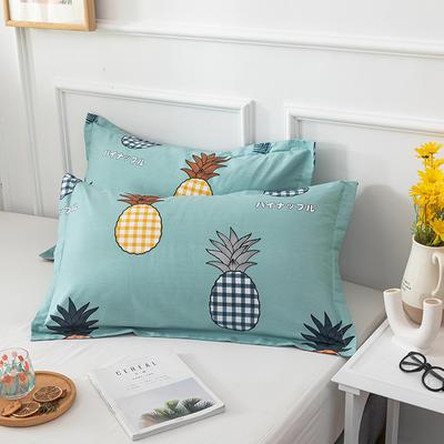 20202新款全棉印花系列-单枕套 48cmX74cm/对 菠萝多多 绿