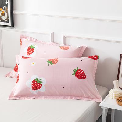 20202新款全棉印花系列-单枕套 48cmX74cm/对 草莓糖 粉