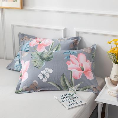 20202新款全棉印花系列-单枕套 48cmX74cm/对 丛林舞会 兰