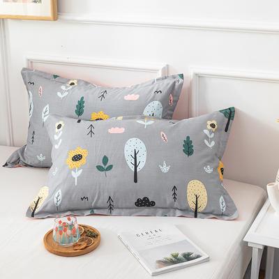 20202新款全棉印花系列-单枕套 48cmX74cm/对 浅色时光 灰