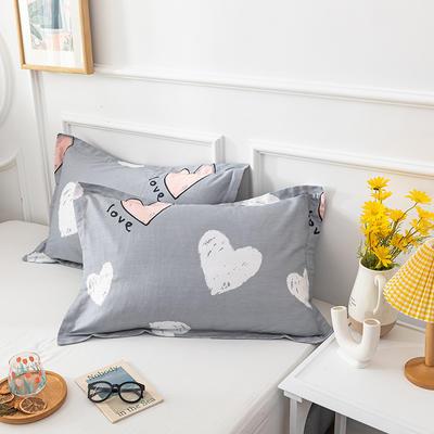 20202新款全棉印花系列-单枕套 48cmX74cm/对 心相恋 灰