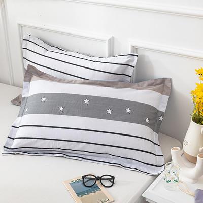 20202新款全棉印花系列-单枕套 48cmX74cm/对 星星假日 兰