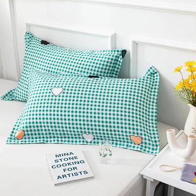 20202新款全棉印花系列-单枕套 48cmX74cm/对 与你之约 绿
