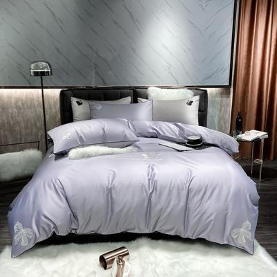 2020春夏新品60天丝棉套件-黑天鹅 1.5m床单款四件套 黑天鹅紫