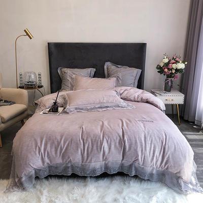 2020新款60S天丝棉色纺蕾丝绣花四件套 1.5m床单款四件套 灰紫