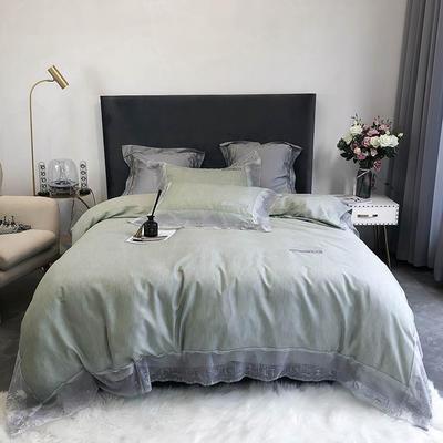2020新款60S天丝棉色纺蕾丝绣花四件套 1.5m床单款四件套 嫩绿