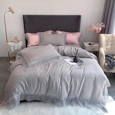 2020新款60S天丝棉色纺蕾丝绣花四件套 1.5m床单款四件套 深灰