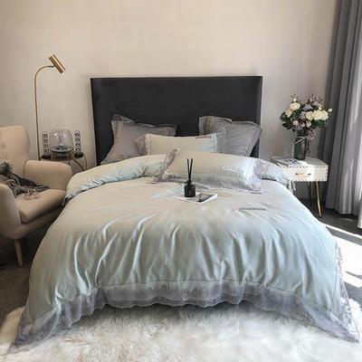 2020新款60S天丝棉色纺蕾丝绣花四件套 1.5m床单款四件套 荧光