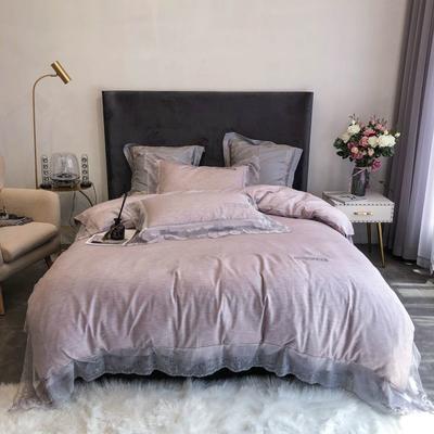 2020新款60S天丝棉色纺蕾丝绣花四件套-实拍 1.5m床单款四件套 灰紫