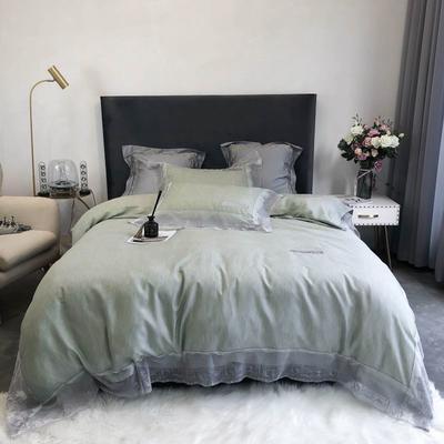 2020新款60S天丝棉色纺蕾丝绣花四件套-实拍 1.5m床单款四件套 嫩绿