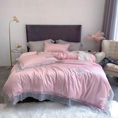 2020新款60S天丝棉色纺蕾丝绣花四件套-实拍 1.5m床单款四件套 樱花粉