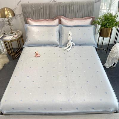 2020新款凉席-爱心 1.5m三件套 蓝色床笠款