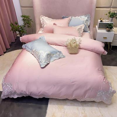 2020新款100支长绒棉欧根纱高精密刺绣系列四件套 1.5m床单款四件套 粉色