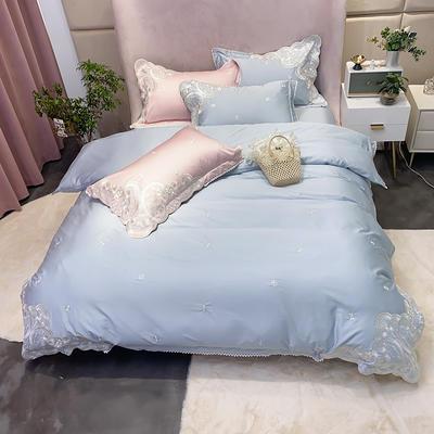 2020新款100支长绒棉欧根纱高精密刺绣系列四件套 1.5m床单款四件套 蓝色
