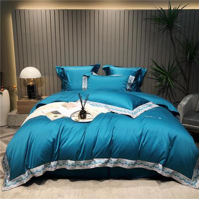 2021新款100s长绒棉轻著系列四件套-塞纳河畔 1.5m床单款四件套 蓝色
