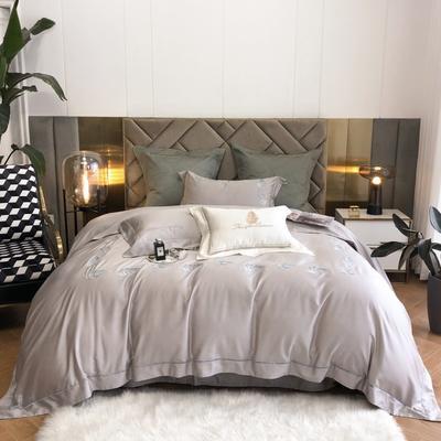 2021春夏新款80S天丝棉四件套系列—落叶 1.5m床单款四件套 灰色