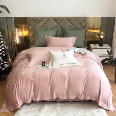 2021春夏新款80S天丝棉四件套系列—落叶 1.5m床单款四件套 水粉色