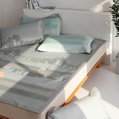 2021新款可机洗600D冰丝提花凉席—雪人 150*195cm 灰色