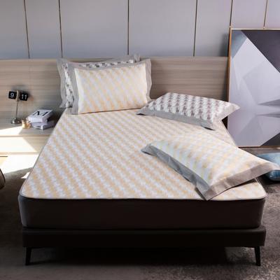 2021新款以梦为马可机洗600D冰丝凉席—床笠款图1 150*195cm 淡黄色