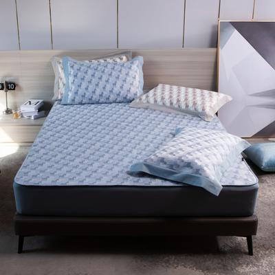 2021新款以梦为马可机洗600D冰丝凉席—床笠款图1 150*195cm 深蓝色