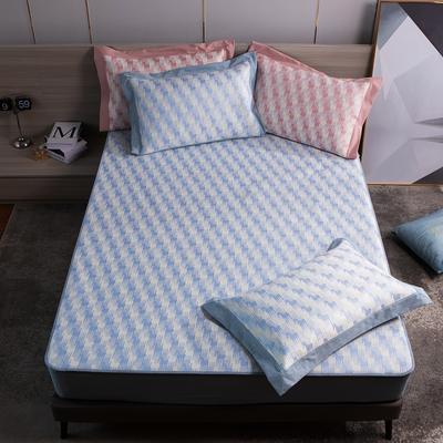 2021新款以梦为马可机洗600D冰丝凉席—床笠款图1 150*195cm 天蓝色