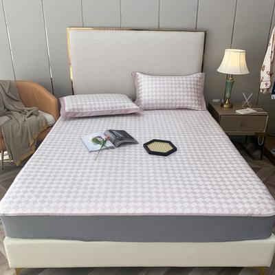 2021新款英伦格调可机洗600D冰丝凉席—床笠款 150*200cm 英伦格调-粉