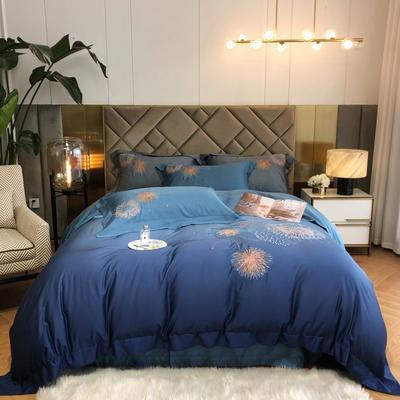2021新款春夏60s天丝刺绣工艺四件套 1.5m床单款四件套 渐变蓝