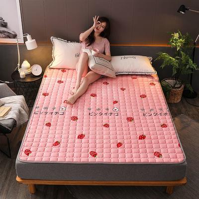 2019新款加厚法莱绒绗绣床垫 60*120cm 甜心草莓
