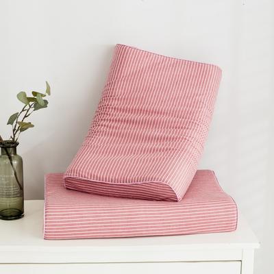 2019新款水洗棉系列A品乳胶枕60*40 水洗粉条纹按摩款
